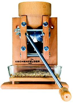 Korn-Quetsche Wandmodell Holztrichter, inkl. Glasschale Flocker Eschenfelder
