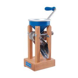 Kornquetsche novia® blau - Tischmodell Aluminiumtrichter, inkl. Zwinge