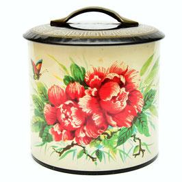 Blik met rode bloemen en vlinders