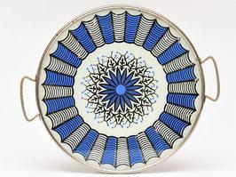 Plateau 'mandala' blauw/zwart/wit met glas