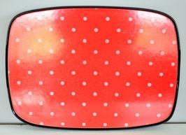Dienblad Formica 'rood met witte stippen'