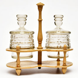 Brocante set met 2 glazen potten