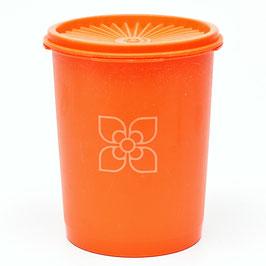 Tupperware voorraaddoos oranje met sterdeksel met bloem