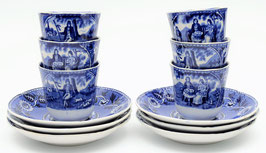 6 kop en schotels Tea Drinker blauw van Societe Ceramique