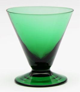 Vruchtensapglas donker groen K6 van Kristalunie Maastricht Carnaval