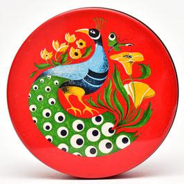 Rode ronde trommel met pauw