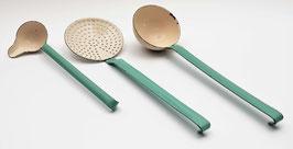 Emaille set soeplepel, schuimspaan en juslepel groen/wit