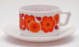 Arcopal kop en schotel Lotus oranje/rood