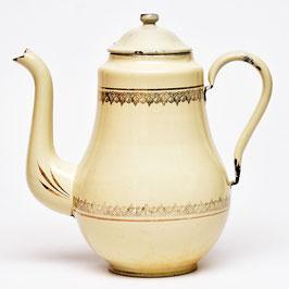 Emaille koffiekan gebroken wit met goud
