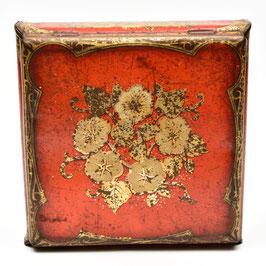 Vierkant blik rood/goud met bloemen