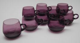 Set van 9 paarse bowlglazen