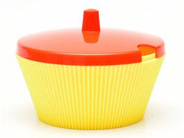 Vintage suikerpot Turkstra geel/oranje