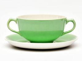 Soepkom met schotel groen van Boch La Louviere