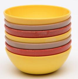 7 vintage pindabakjes rood/geel/beige
