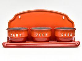 Oranje emaille Zand Zeep Soda