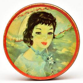 Vintage blik met afbeelding van vrouw