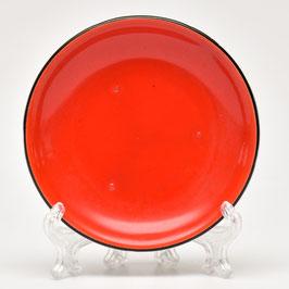 Petit-four-schaaltje rood met zwarte bies van Societe Ceramique