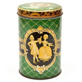 Blik groen/geel met Middeleeuwse afbeelding van man en vrouw