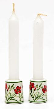 Set van 2 kaarsenstandaardjes 'rode korenbloem'