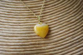 Pendentif coeur Calcite jaune T2