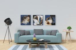 "3 Acrylbilder, 30 cm x 30 cm, ""Broken Wall"""