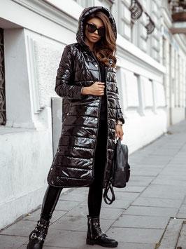Hochglänzender  Mantel mit Kapuze