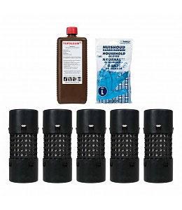 5 microzuilen/gaaskokers met 1 liter Tupoleum® in een emmer