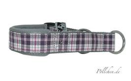Pöllchen Komfort-Zugstopphalsband Karo Grau Lila