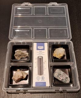 Luxe UV mineralen starterset met oplaadbare 3W 365nm UV zaklamp