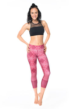 "DHARMABUMS - LEGGING ""RED BOHEMIAN BEAUTY"" HIGH WAIST, 7/8"