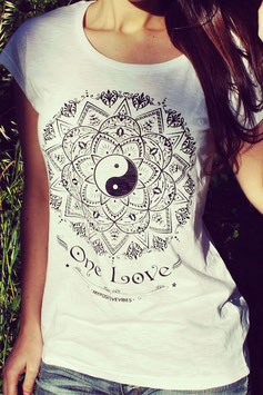"MY POSITIVE VIBES – TANK TOP ""MANDALA – ONE LOVE"" WEISS"