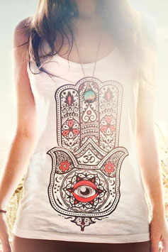"MY POSITIVE VIBES – TANK TOP ""HAMSA"" WEISS"