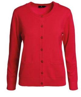 Damen Strickjacke rot mit Taschen
