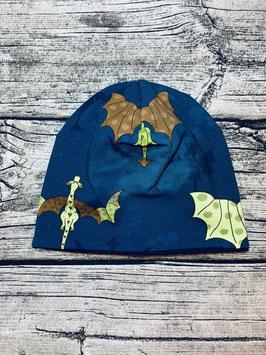 Beanie Drachen dunkelblau