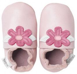 Bobux Lederpatschen Blumen rosa