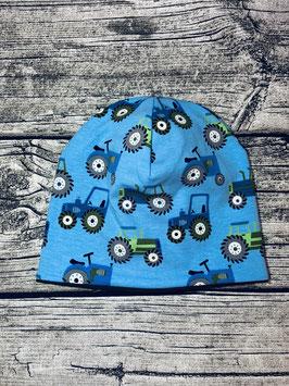 Beanie Traktor hellblau