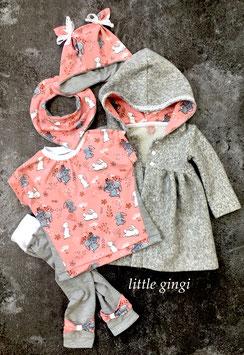 Mantel gerafft Häschen grau