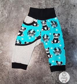 Taschenhose Baumwolljersey Panda türkis kurz
