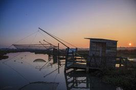 TABLEAU PHOTO PVC/FOREX - Coucher du soleil sur les pêcheries de Rostu