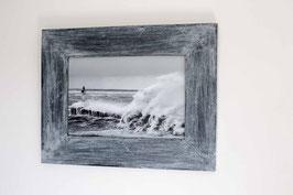 Cadre photo en bois Gris, Le phare de Merquel dans la tempête