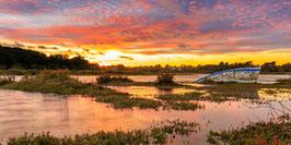 Tableau photo Alu-Dibond   Panoramique - Coucher du Soleil depuis le pont de Kercabellec.