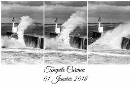 Cadre photo en Bois - Le phare de Merquel dans la tempête.