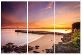 Tableau Multi-panneaux Triptyque/Pentaptyque Alu-Dibond -Lever de soleil sur le phare de Merquel