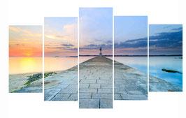 Tableau Multi-panneaux Triptyque/Pentaptyque Alu-Dibond  - Coucher de soleil sur le phare de Merquel.