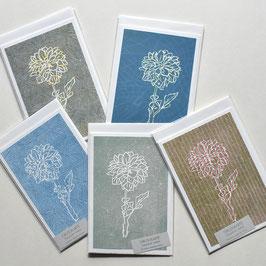 Dahlie Holzschnitt Grußkarte