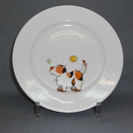 Porzellanteller mit Hund mit Biene