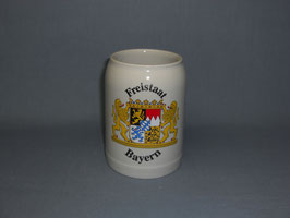Steinzeugkrug grau mit Freistaat Bayern