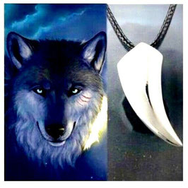 COLLIER DENT DE LOUP AMULETTE DE PROTECTION