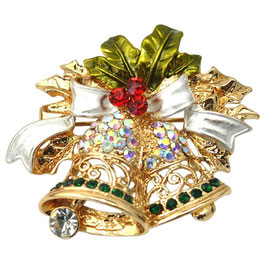 BROCHE CLOCHES DE NOEL DORÉ CRISTAUX