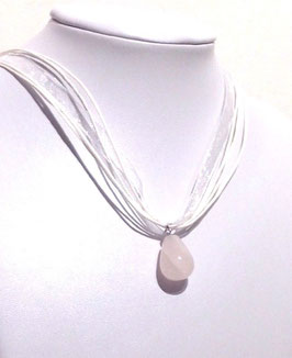 COLLIER PIERRE QUARTZ ROSE ORGANZA BLANCHE